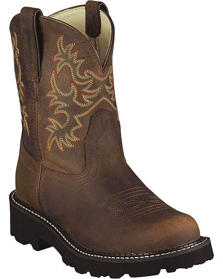 Ariat Fatbaby Distressed Cowgirl Boots - Round Toe