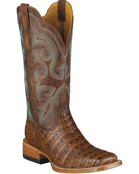 Ariat Pecan Latigo Belly Caiman Boots - Wide Sq Toe