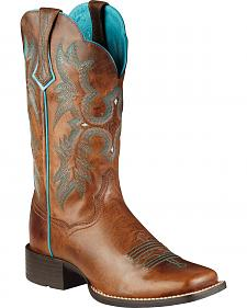 Ariat Brown Tombstone Boots - Wide Square Toe