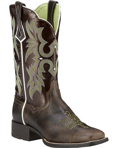 Ariat Chocolate Tombstone Boots - Wide Square Toe