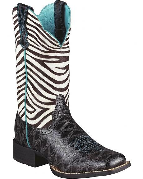 Ariat Quickdraw Zebra Print Boot - Wide Square Toe