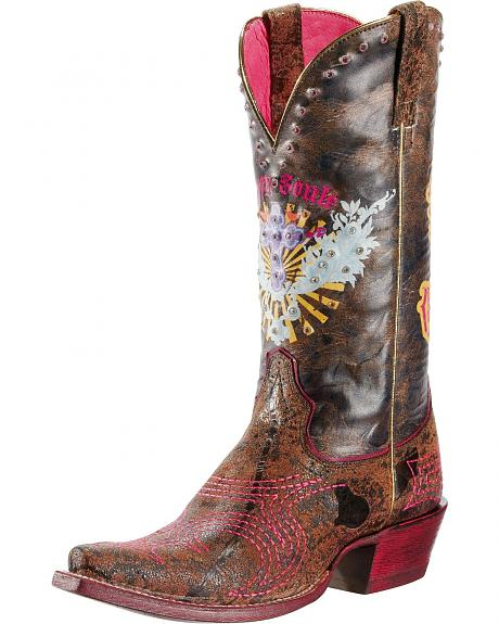 Ariat Gypsy Soule Pink & Sassy Cowgirl Boots - Snip Toe