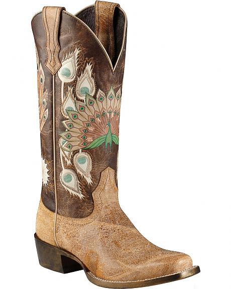 Ariat Mystic Feathers Peacock Print Cowgirl Boots - Square Toe
