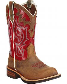 Ariat Unbridled Red Cowgirl Boots - Round Toe