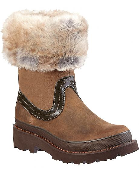 Ariat Fatbaby Faux Fur Collar Boots - Round Toe