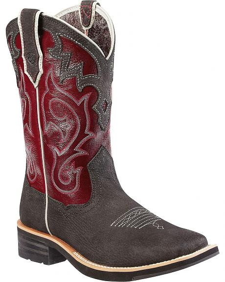 Ariat Unbridled Maroon Cowgirl Boots - Square Toe