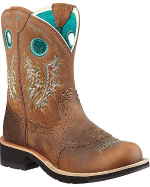 Ariat Fancy Stitched Saddle Vamp Fatbaby Boots - Round Toe
