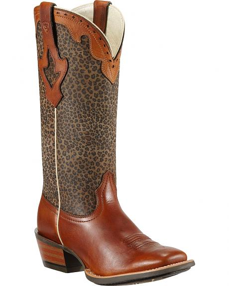 Ariat Crossfire Caliente Leopard Print Cowgirl Boots - Square Toe
