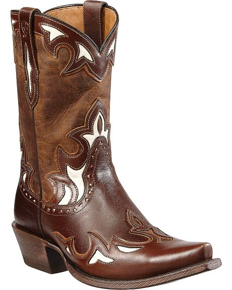 Ariat Reina Leather Overlay Cowgirl Boots - Snip Toe