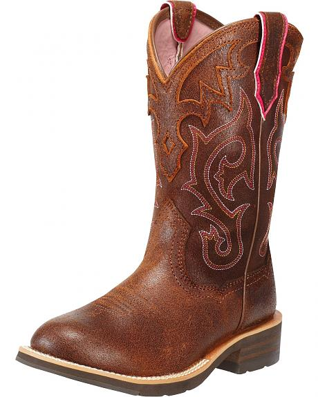 Ariat Unbridled Pink Stitched Cowgirl Boots - Round Toe