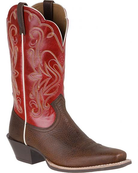 Ariat Legend Rowdy Mega Red Cowgirl Boots - Square Toe