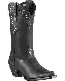 Ariat Rhinestone Studded Heel Cowgirl Boots - Snip Toe