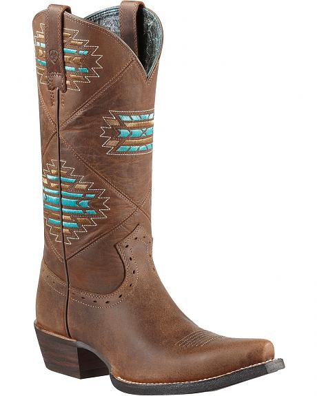 Ariat Cheyenne Tribal Embroidered Cowgirl Boots - Snip Toe