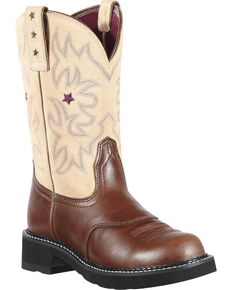Ariat Probaby Suede Embroidered Cowgirl Boots - Round Toe