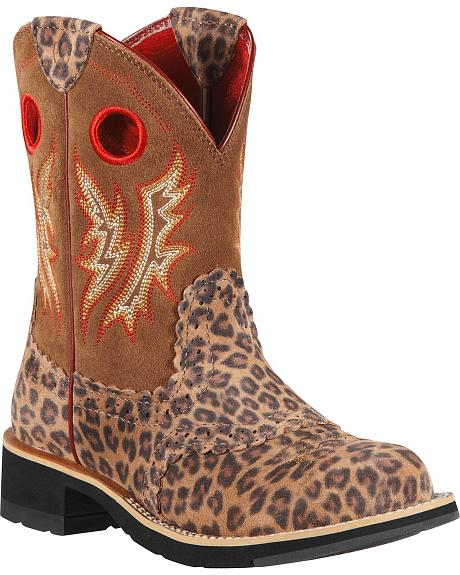 Ariat Fatbaby Leopard Print Cowgirl Boots - Round Toe