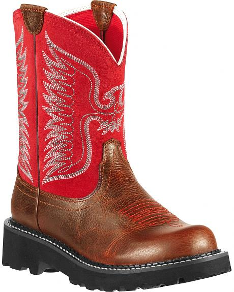 Ariat Fatbaby Red Thunderbird Cowgirl Boots - Round Toe