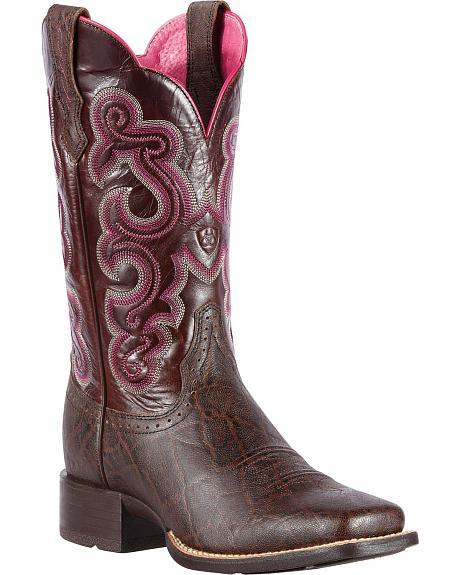 Ariat Quickdraw Elephant Print Cowgirl Boots - Square Toe