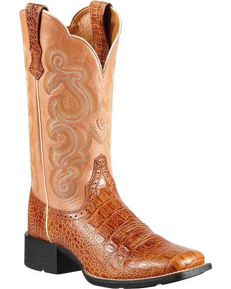 Ariat Quickdraw Gator Print Cowgirl Boots - Square Toe
