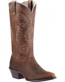 Ariat Magnolia Sunflower Stitch Cowgirl Boots - Medium Toe