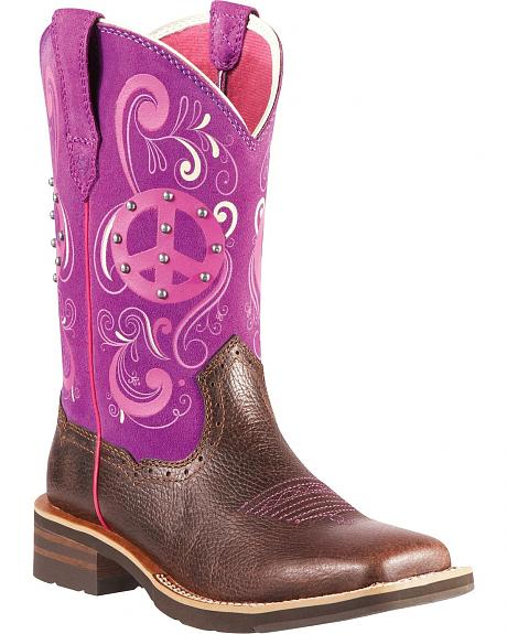 Ariat Showbaby Peace Cowgirl Boots - Square Toe