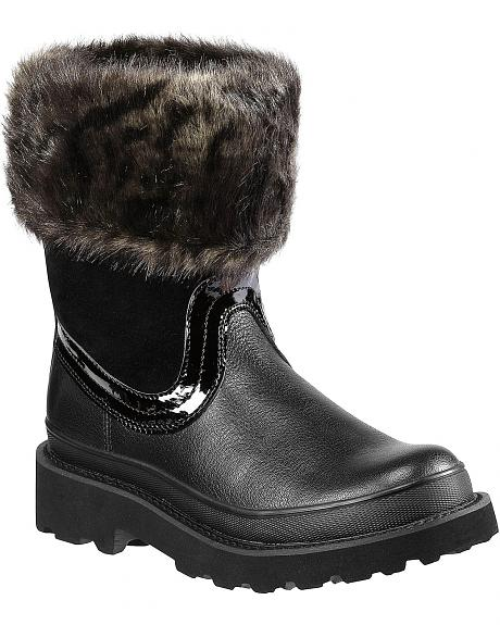 Ariat Fatbaby Black Faux Fur Collar Boots - Round Toe