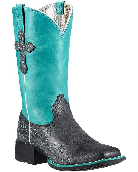 Ariat Crossroads Neon Blue Cowgirl Boots - Square Toe