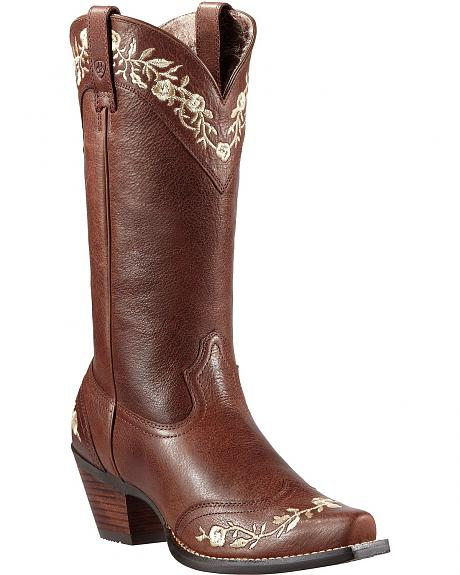 Ariat Floral Embroidered Wingtip Cowgirl Boots - Snip Toe