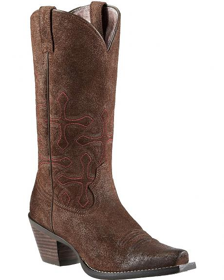Ariat Faith Cross Stitch Suede Cowgirl Boots - Snip Toe