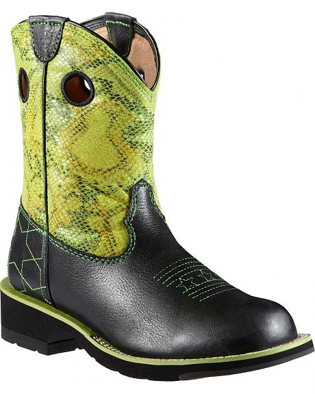 Ariat Fatbaby Starstruck Lime Green Python Print Cowgirl Boots - Round Toe