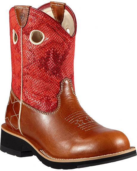 Ariat Fatbaby Starstruck Red Python Print Cowgirl Boots - Round Toe