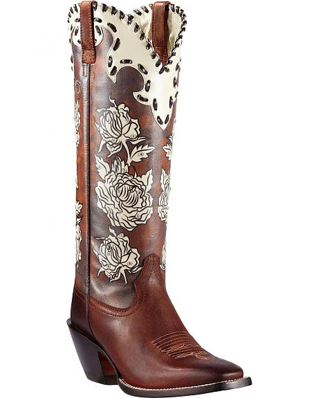 Ariat Callie Rhinestone Embellished Floral Print Cowgirl Boots - Square Toe
