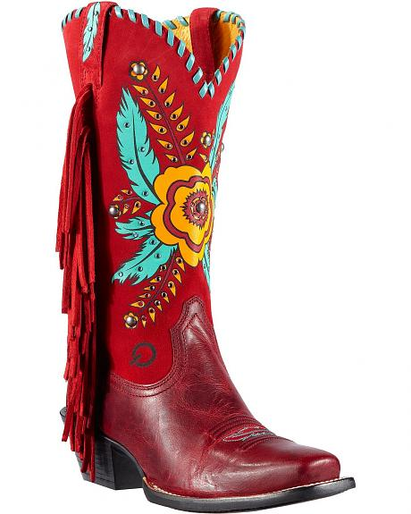 Ariat Santa Barbara Flower & Feather Print Fringe Cowgirl Boots - Square Toe