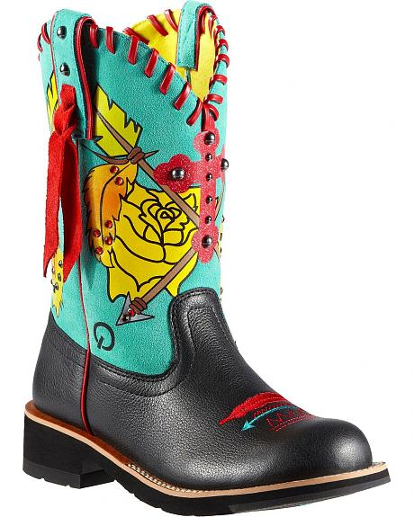 Ariat Fatbaby Shyan Printed & Studded Cowgirl Boots - Round Toe