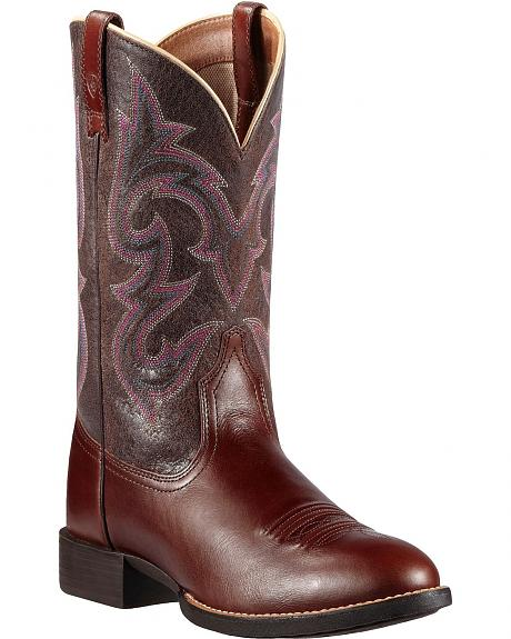Ariat Roundup Stockman Cowgirl Boots - Round Toe