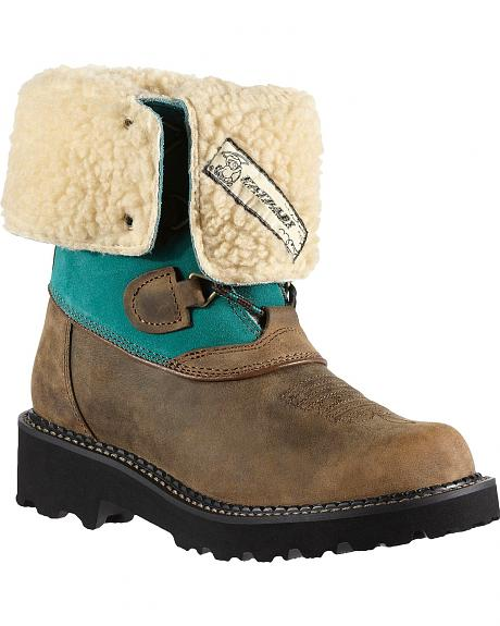 Ariat Fatbaby Summit Faux Shearling Cowgirl Boots - Round Toe