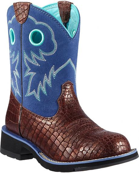 Ariat Fatbaby Sheila Croc Print Cowgirl Boots - Round Toe