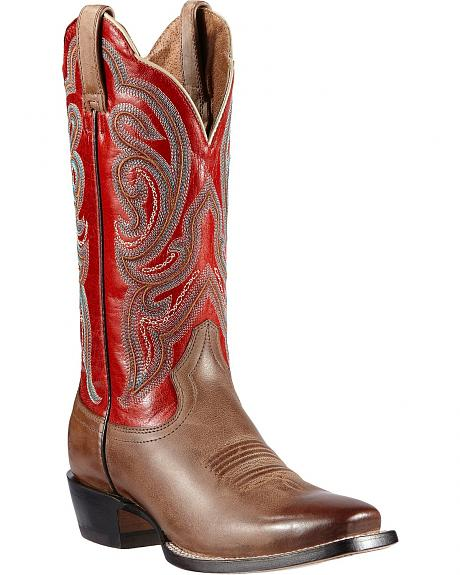 Ariat Angelica Scarlet Stitched Cowgirl Boots - Square Toe