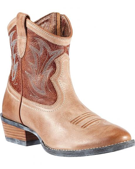 Women's Ariat Brown Billie Short Cowgirl Boots - Round Toe
