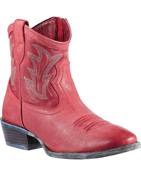Women's Ariat Pink Billie Short Cowgirl Boots - Round Toe