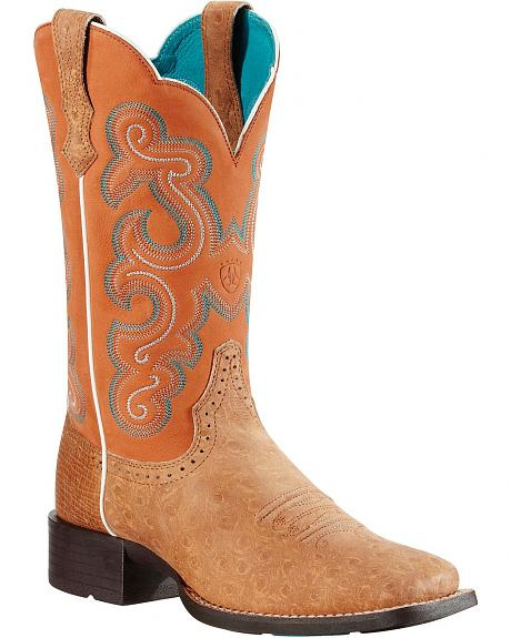 Ariat Quickdraw Ostrich Print Cowgirl Boots - Square Toe