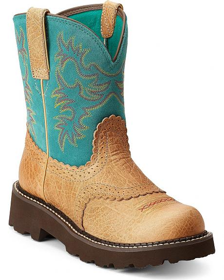 Ariat Fatbaby Saddle Vamp Cowgirl Boots - Round Toe
