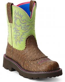 Ariat Ostrich Print Saddle Vamp Cowgirl Boots - Round Toe