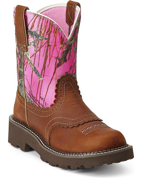 Ariat Pink Camo Saddle Vamp Fatbaby Cowgirl Boots - Round Toe