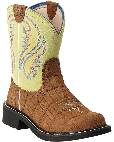 Ariat Fatbaby Gator Print Cowgirl Boots - Round Toe
