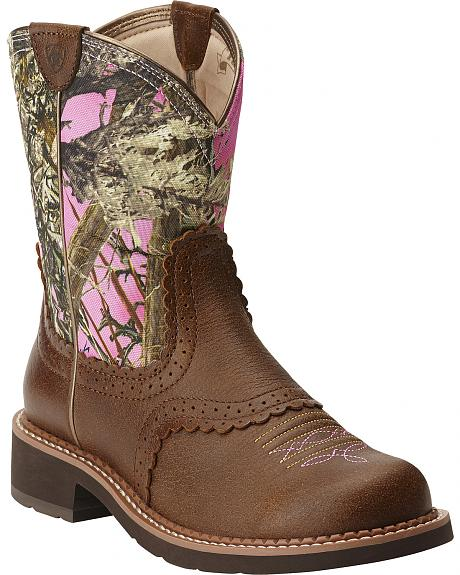 Ariat Women's Fatbaby Vintage Bomber Pink Camo Cowgirl Boots - Round Toe