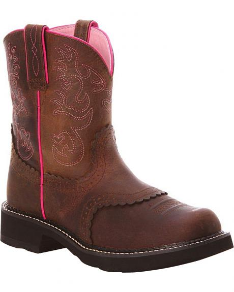 Ariat Driftwood Brown Saddle FatBaby Cowgirl Boots - Round Toe