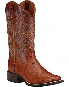 Ariat Women's Full Quill Ostrich Tombstone Western Boots - Square Toe