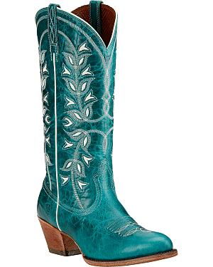 Ariat Desert Holly Turquoise Cowgirl Boots - Round Toe