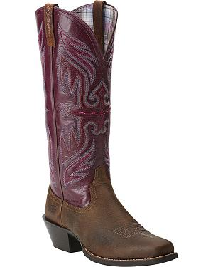 Ariat Womens Round Up Buckaroo Cowgirl Boots - Square Toe