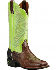 Ariat Brush Country Lime Catalyst Prime Cowgirl Boots - Square Toe